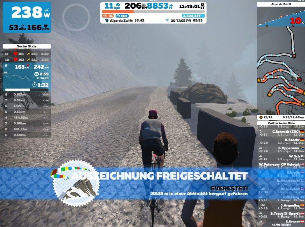 Endlich die 8848 Höhenmeter erreicht. Screenshot vom Patch